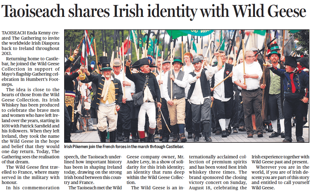 Taoiseach-Shares-Irish-Identity-with-Wild-Geese-In-Humberts-Footsteps-The-Wild-Geese-Irish-Whiskey-Castlebar-Co-Mayo-Ireland-August-2013
