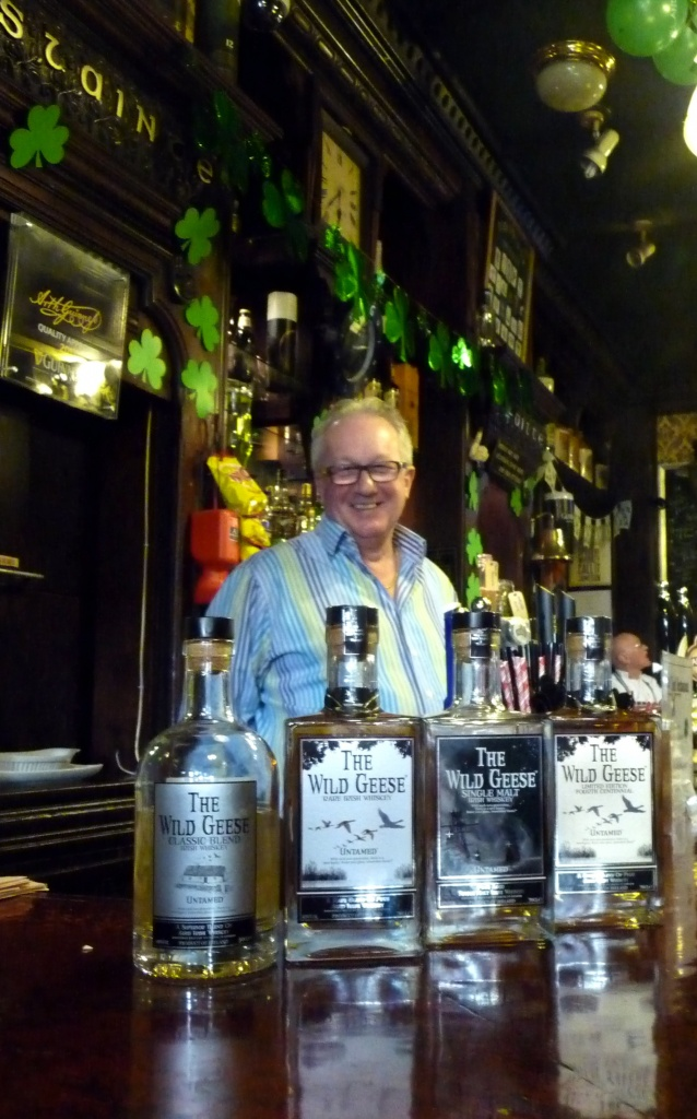 The owner of The Tipperary Steve Rowlands with The Wild Geese Irish Whiskey Collection.