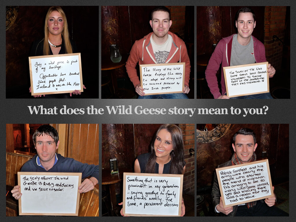 Wild Geese: Thanks to Vashti Curran, Cormac Redmond, Ian McKeown, Mick Kelly, Karen Houlihan and Robert Murray (Clockwise from top left)
